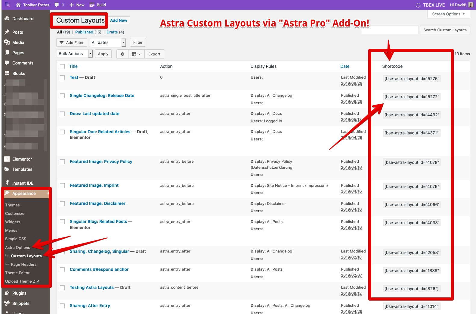 <p>For Astra Pro: Shortcode for each Astra Custom Layout - great for reusage</p>