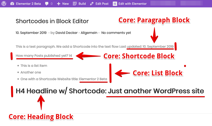 <p>The Shortcodes from Block Editor rendered on the Frontend</p>