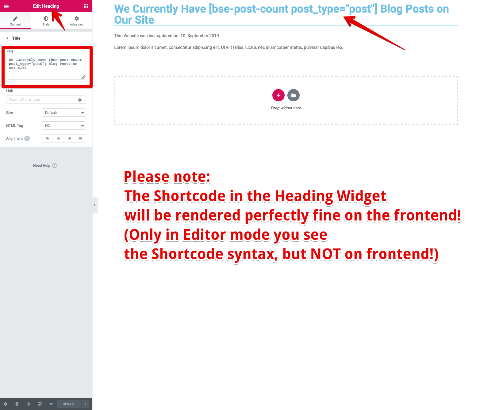 <p>Insert a Shortcode into Elementor Heading widget (will be rendered fully on the frontend, of course!)</p>