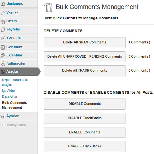 Bulk Comments Management Plugin Settings Page