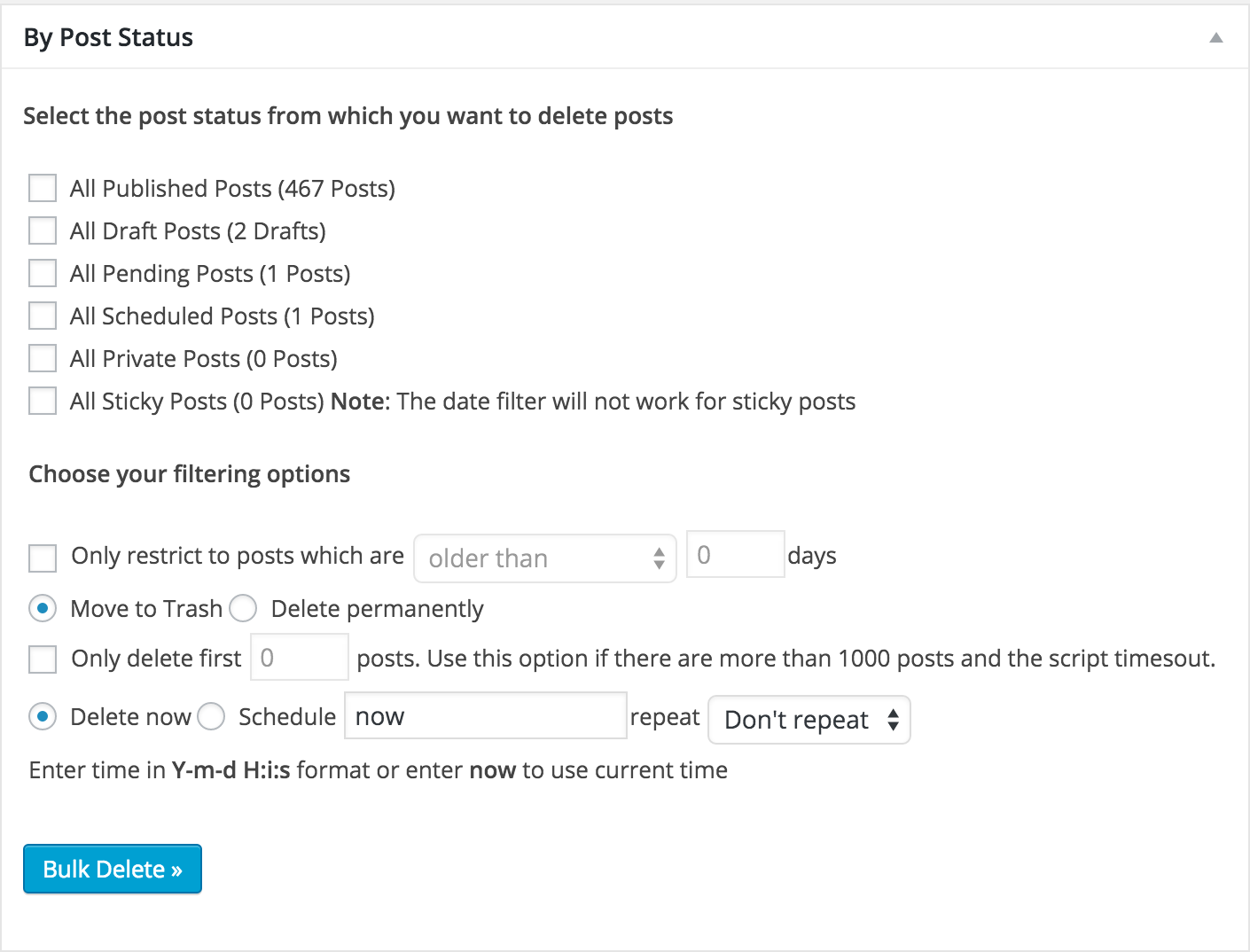 <p>The above screenshot shows how you can delete posts by post status. You can choose to delete published posts, draft posts, pending posts, scheduled posts, private posts or sticky posts.</p>