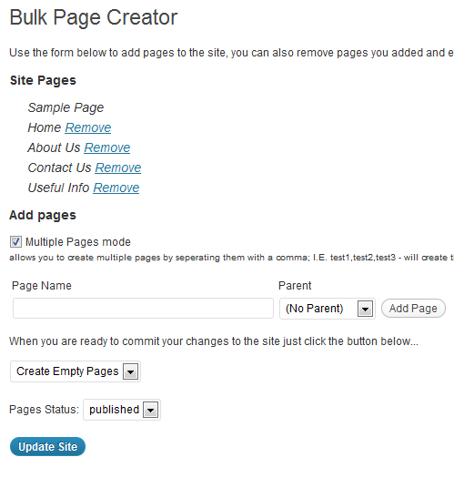 View of bulk page creator screen