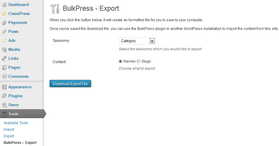 bulkpress-export screenshot 1