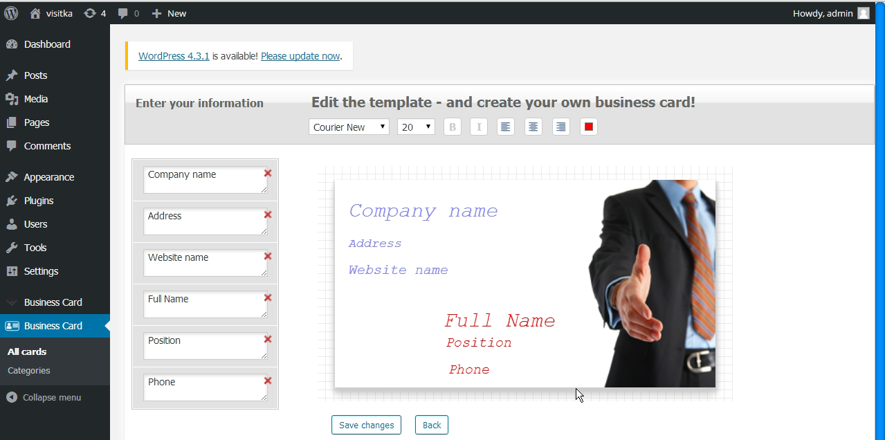 Business card edit section by admin.