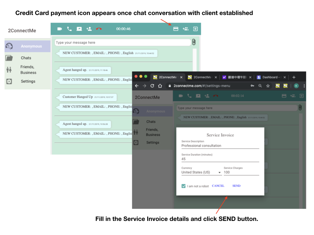Video Live Chat with WhatsApp Agent & Stripe Payment