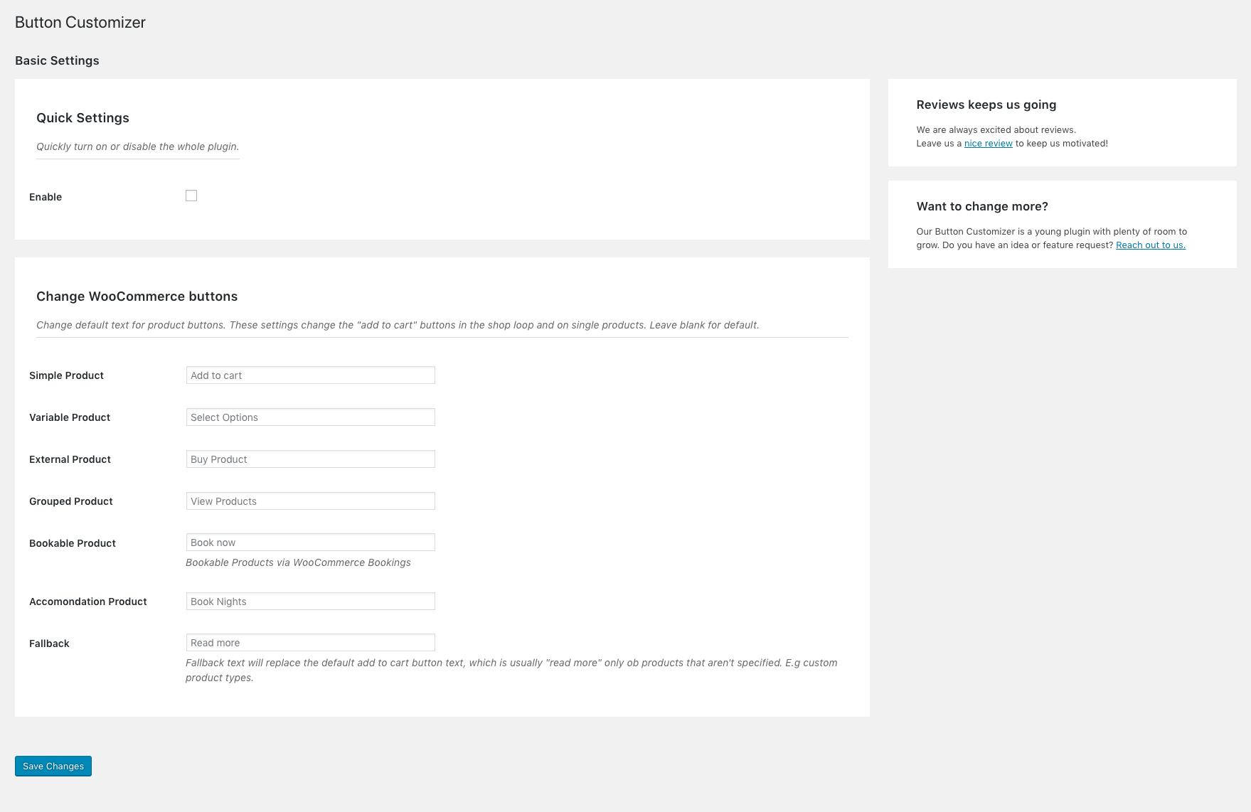 Button Customizer settings screen.