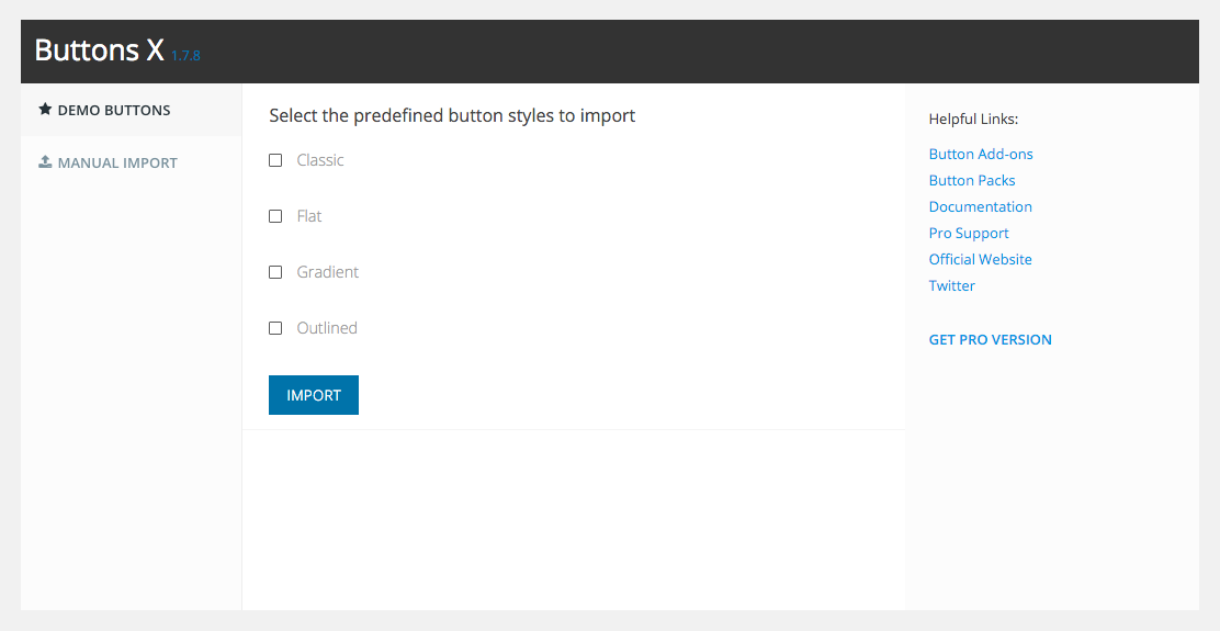 Demo buttons import page.