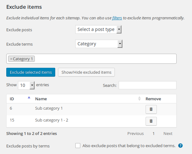 Exclude sitemap items in admin.