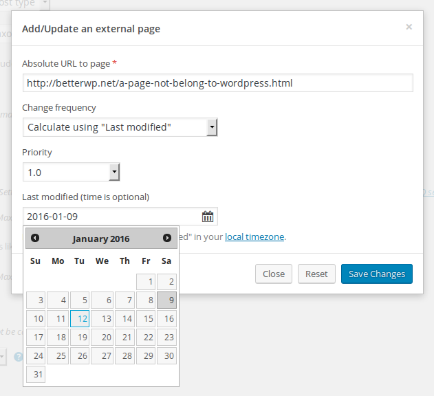 Add external pages in admin.