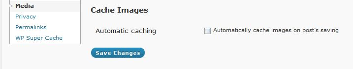 Settings for automatic caching