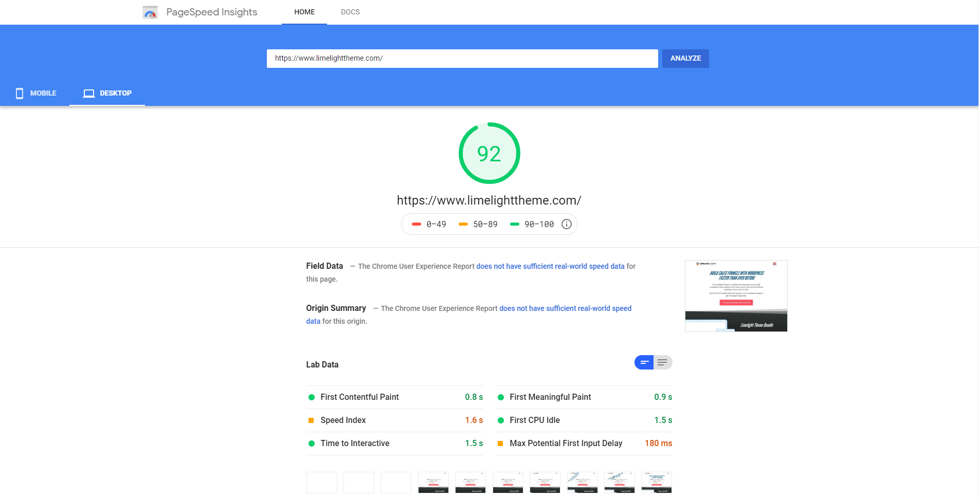 Google page speed insights after