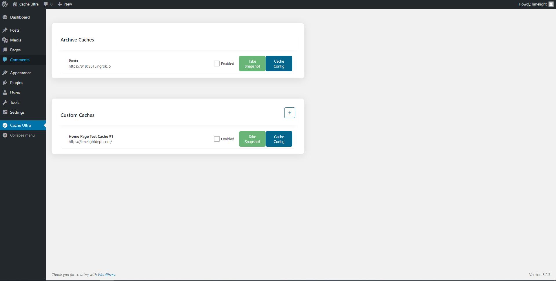 Snapshot settings page