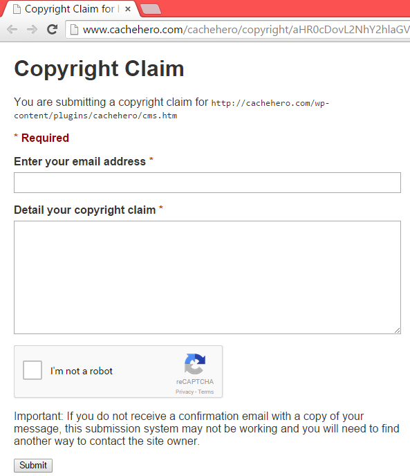 Submission form copyright claims
