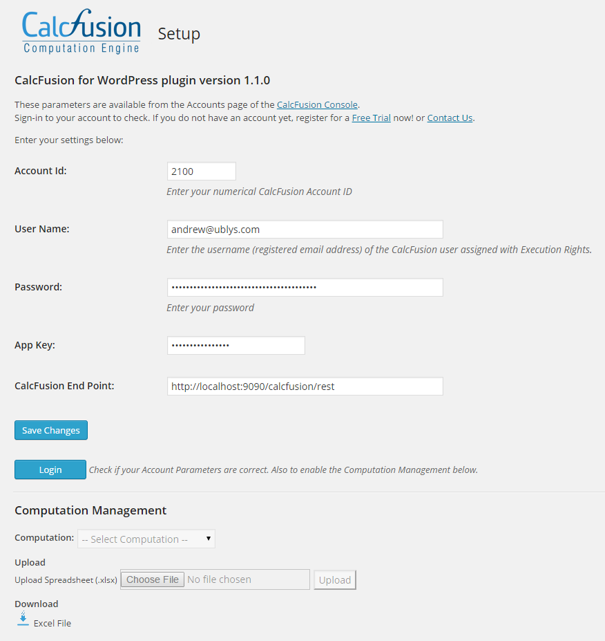 CalcFusion Setup Page (under Settings > CalcFusion)
