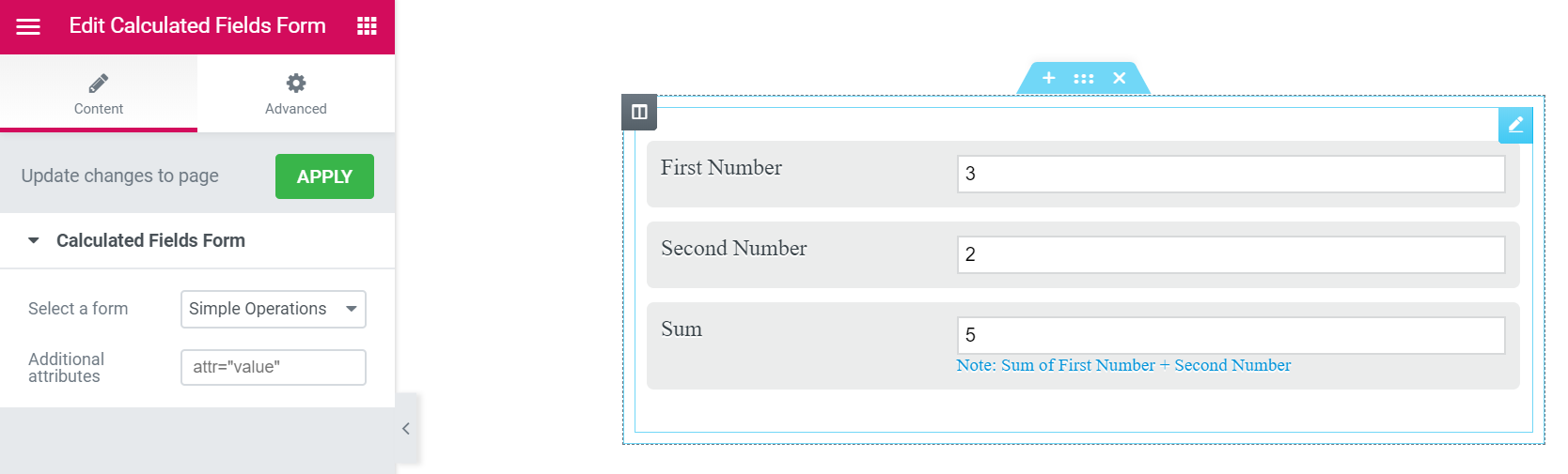 Inserting the form using Elementor