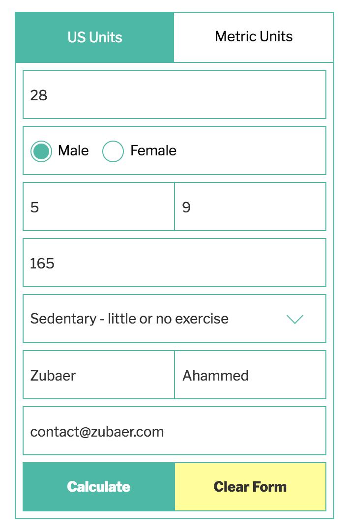 Calorie Calculator Wordpress