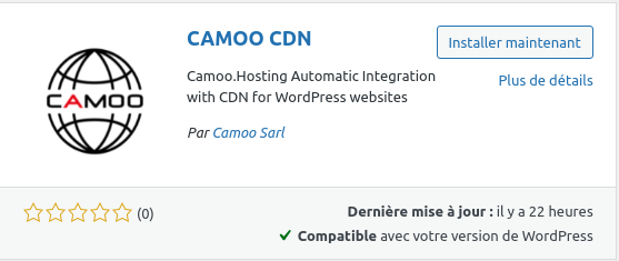 Install CAMOO CDN from WordPress Plugin Directory