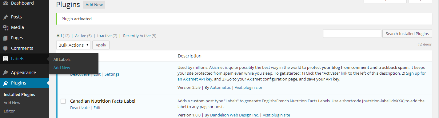 "<p>Install and activate the plugin.  Then navigate to the new ""Labels"" custom post type in the admin.</p>"