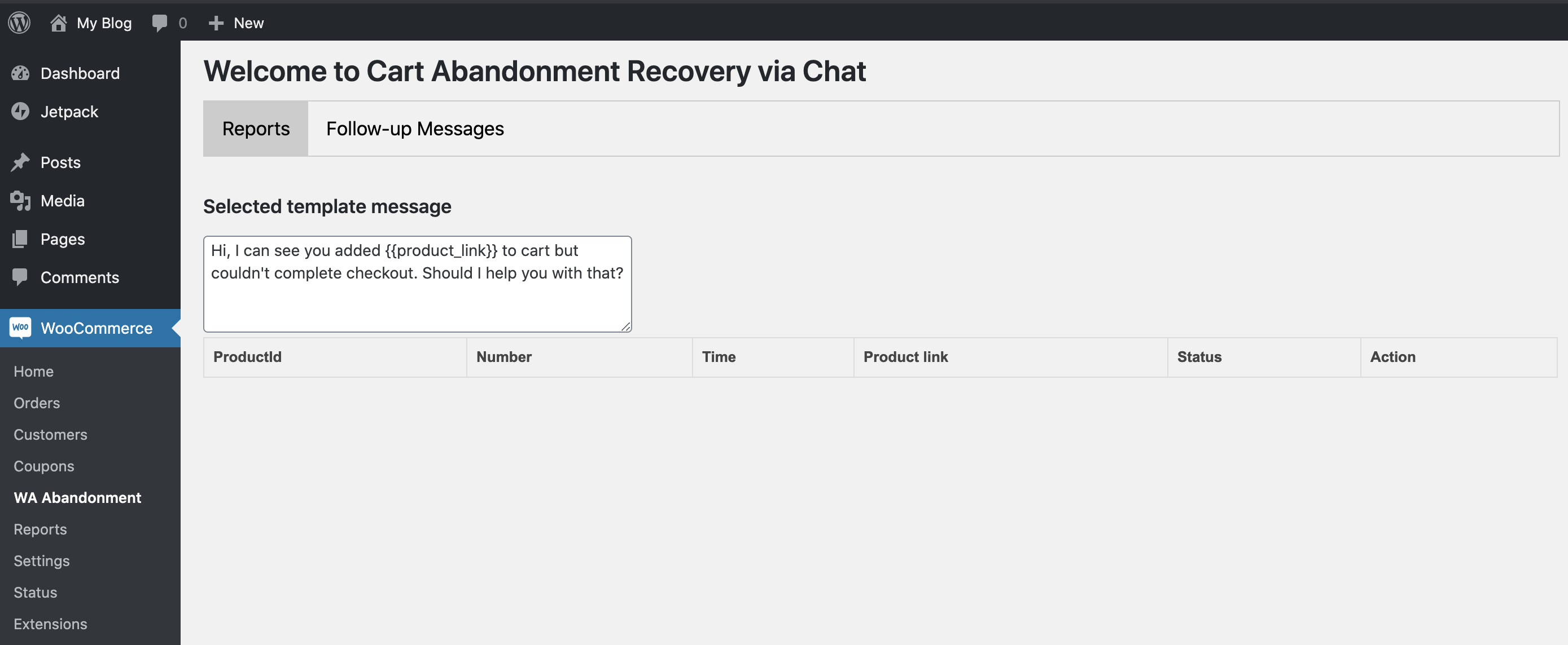 Track recovery report for abandonment sales from the dashboard