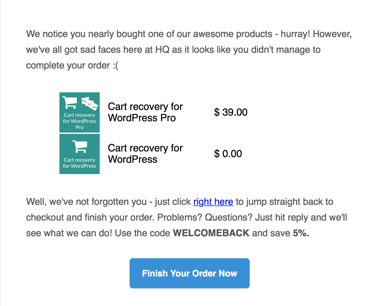Built-in HTML email templates, with tags for personalising your emails