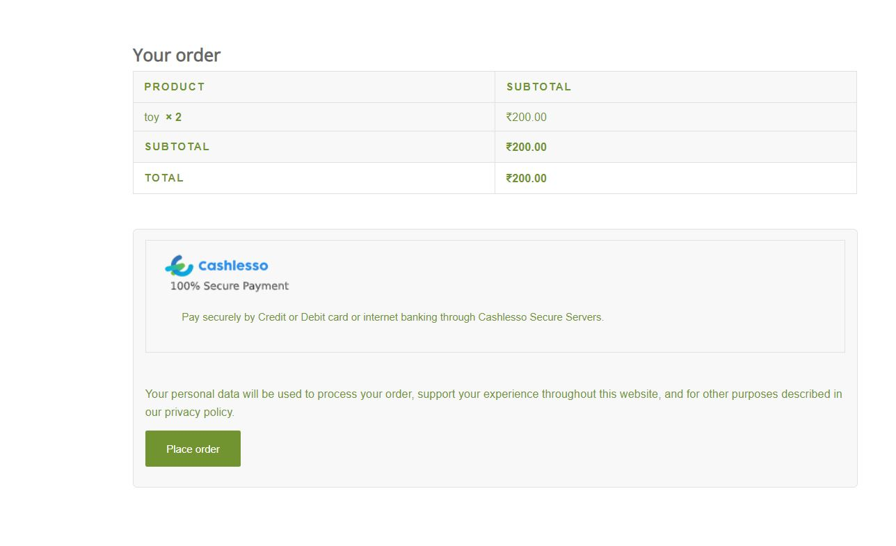 [screenshot-3.PNG] Cashlesso Woocommerce Kit option at the checkout page on your website.
