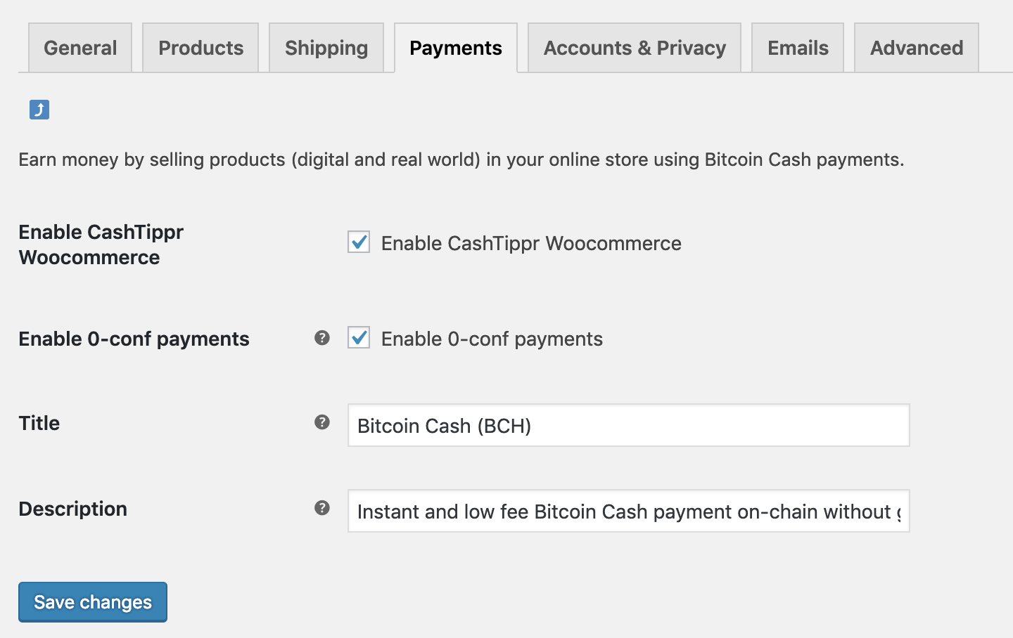 WooCommerce payment gateway settings in Admin Area