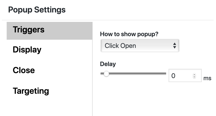 Catch popup trigger settings