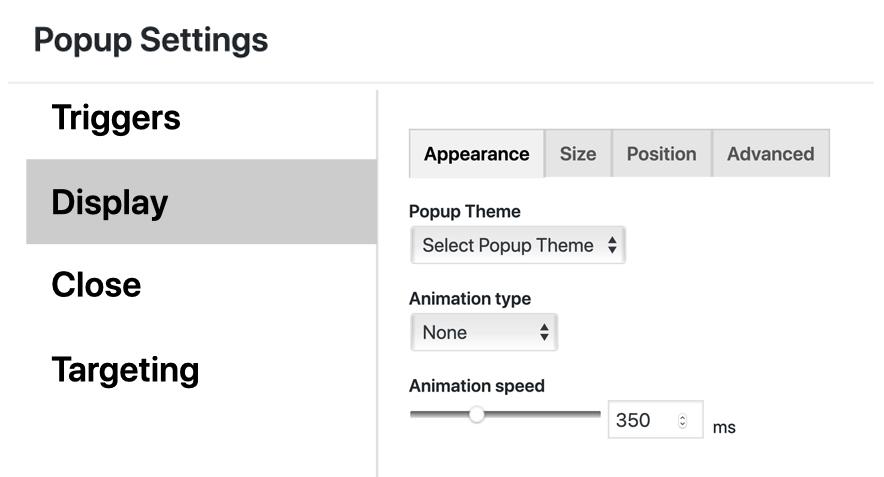Catch popup theme select settings