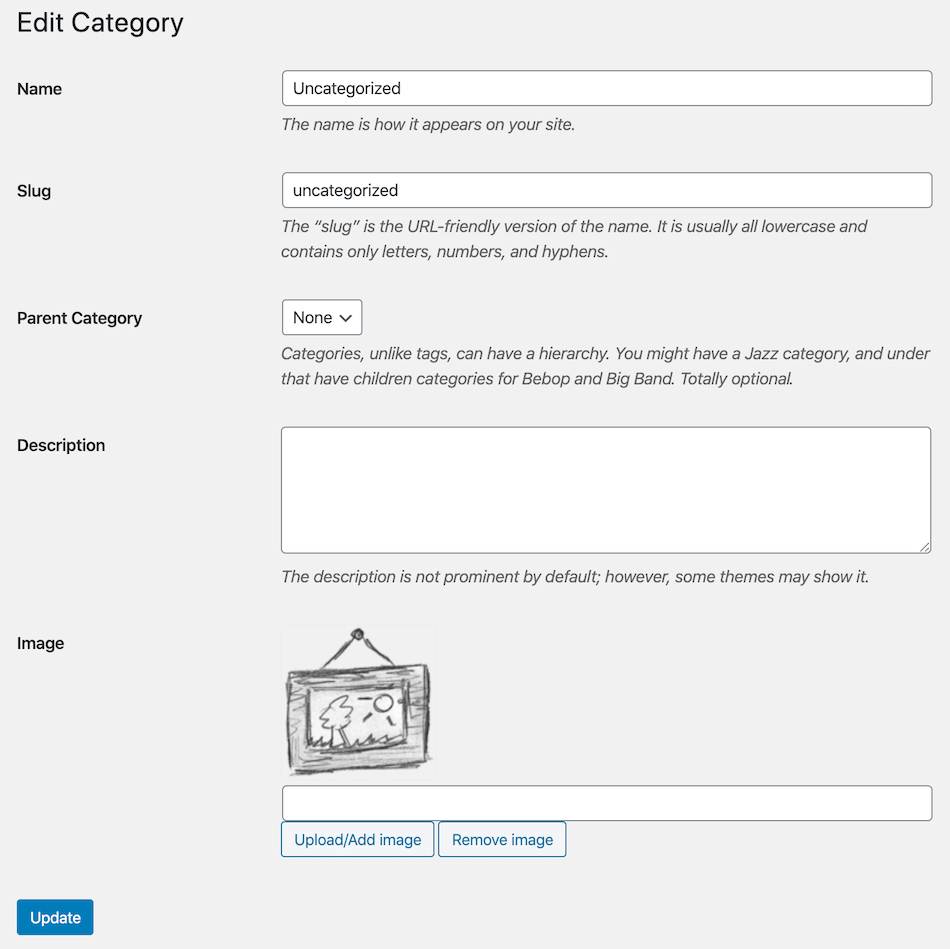 New image field with (upload/remove) buttons to allow you to edit category or taxonomy image in quick edit.