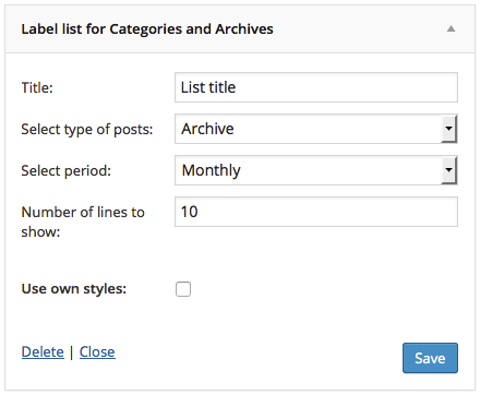 Admin page for archive list