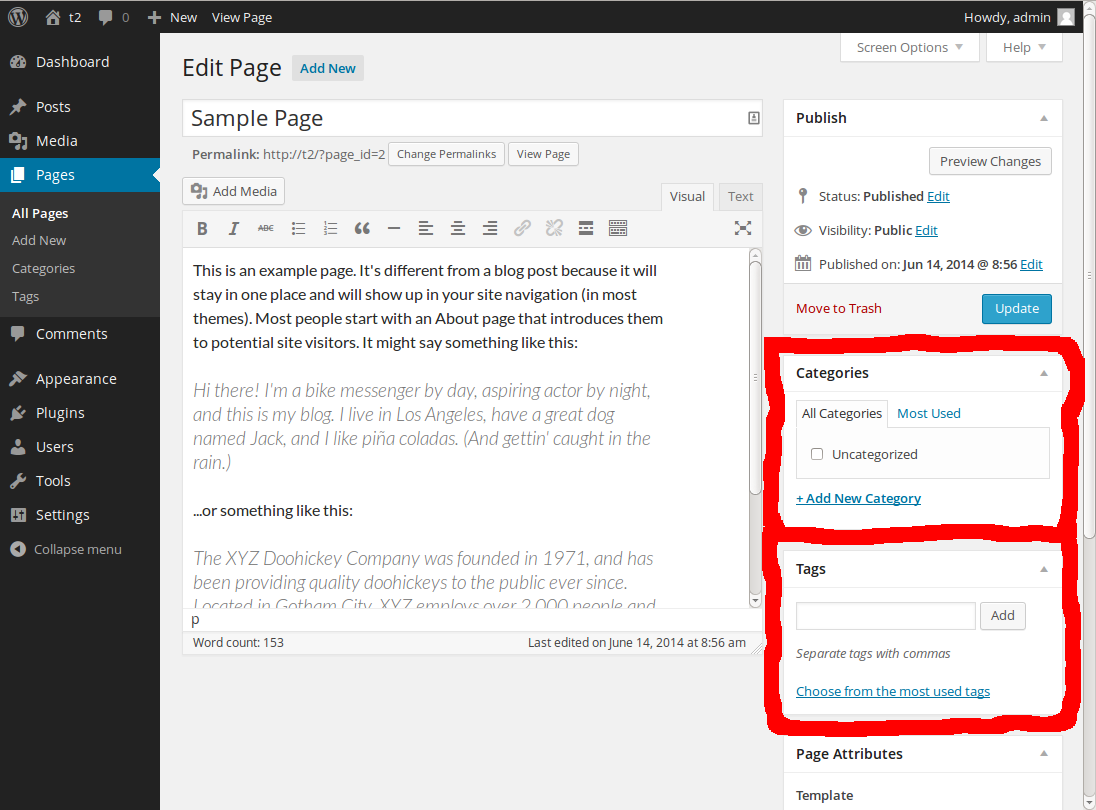 A screenshot of the WordPress backend Pages section with the Categories metabox and the Tags metabox marked red.