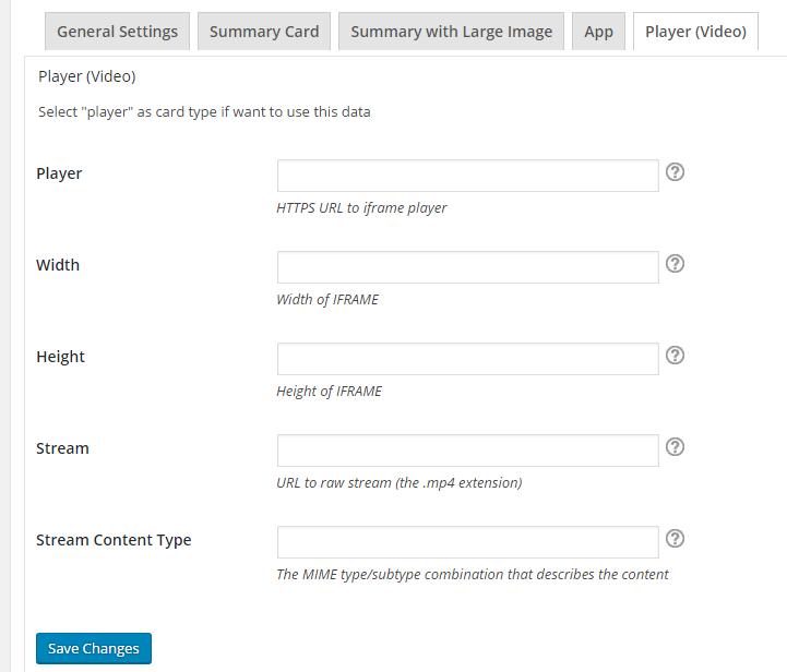 Admin - Twitter Player(Video) Card Settings