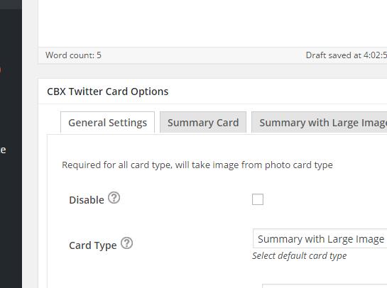 Admin - Twitter Meta Card Settings 1