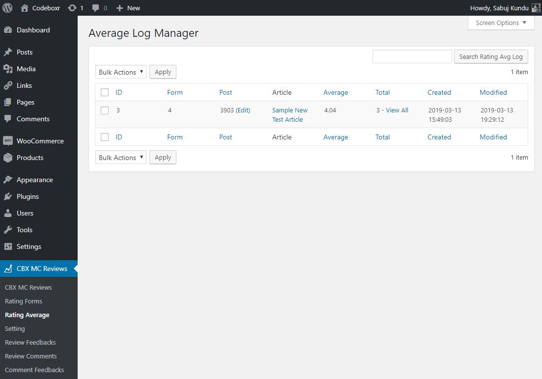 Admin - Average log listing
