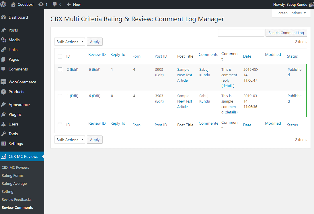 Admin - Comment log listing(Comment addon)
