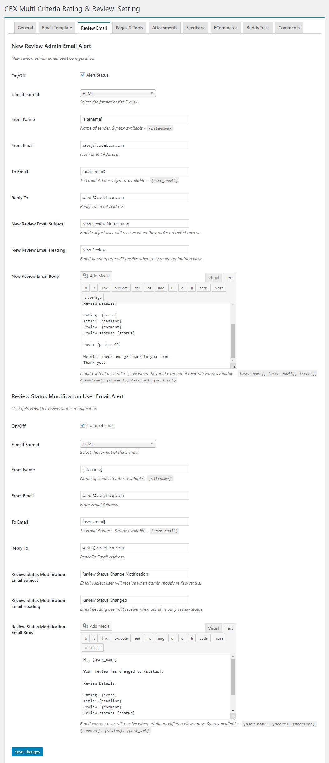 Admin - Setting - Review Alert Template
