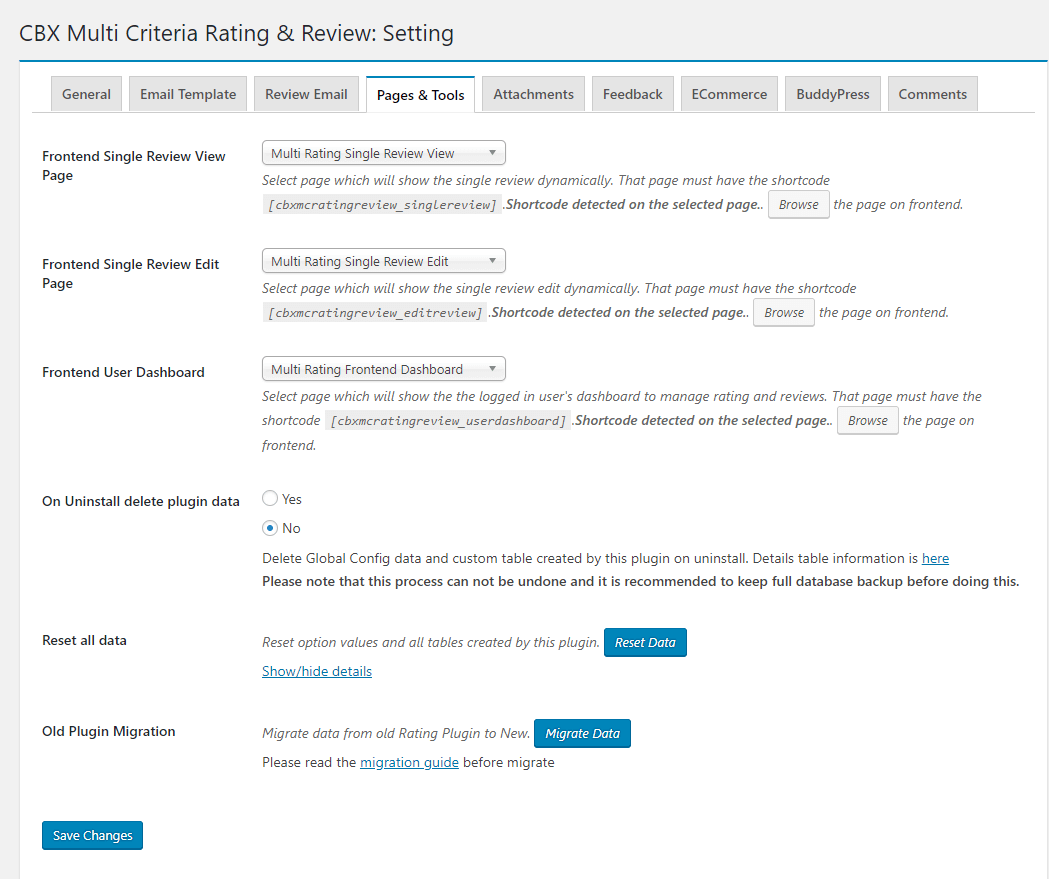Admin - Setting - Pages & Tools