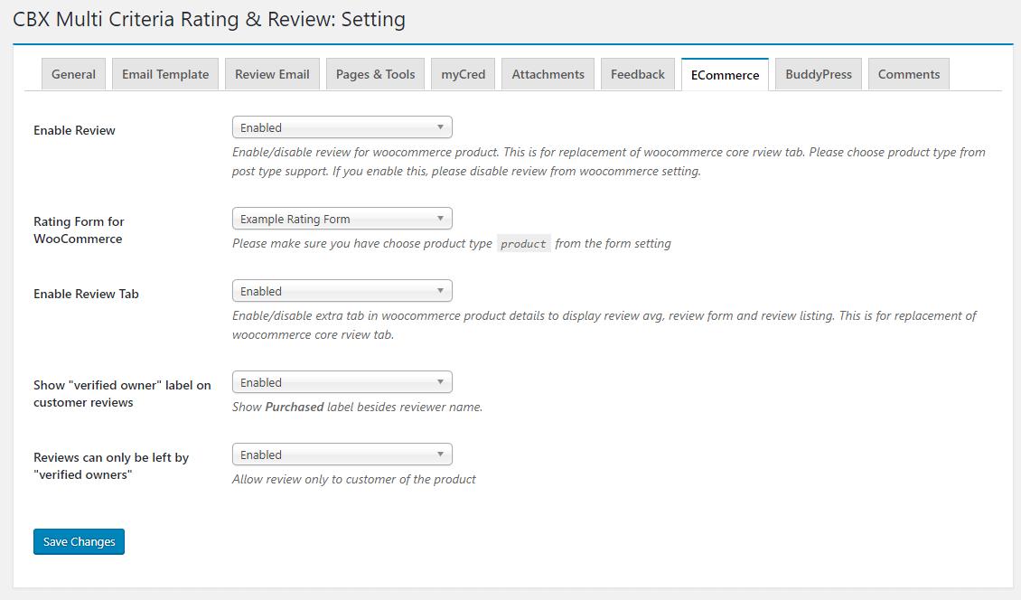 Admin - Setting - ECommerce/WooCommerce(pro addon)