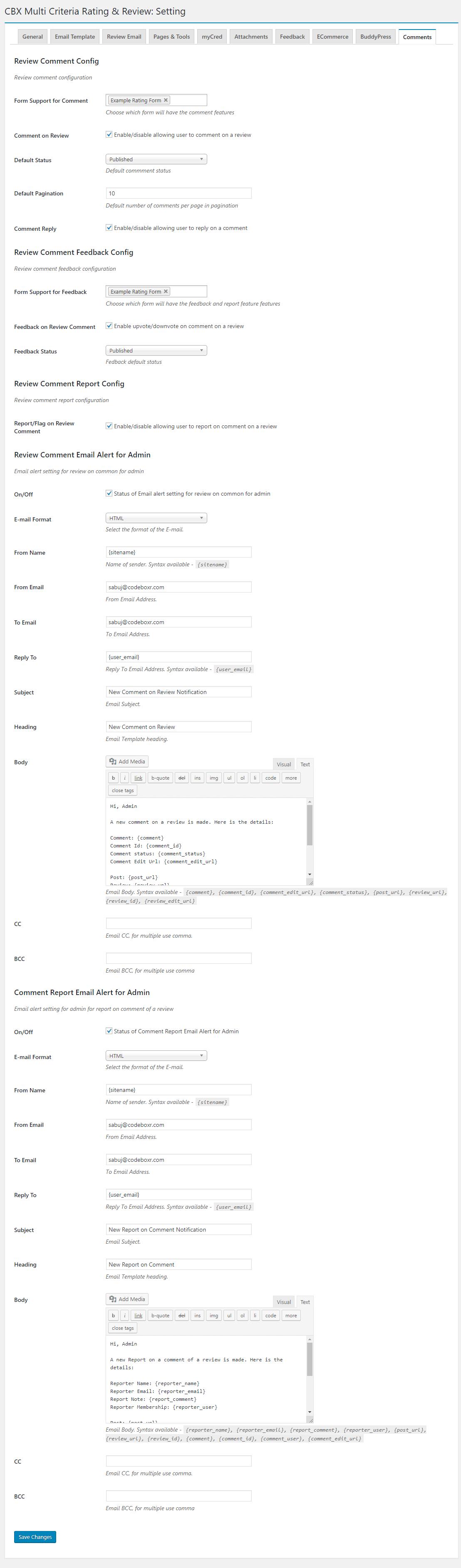 Admin - Setting - Comments(Comment addon)