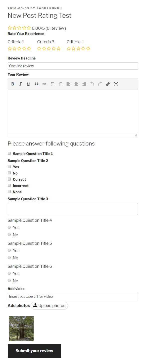 Public - Rating Form(With Pro addon's attachments)