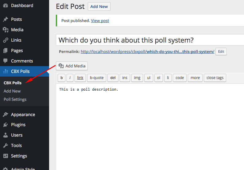 Poll Menu -> Start from here