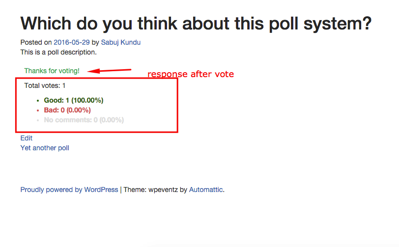 Poll result display