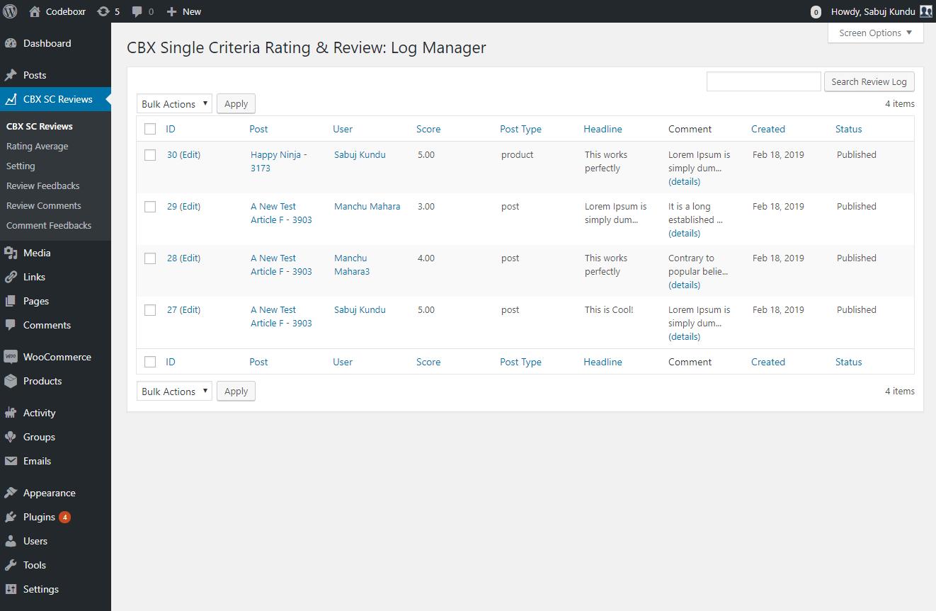 Admin - Feedback log listing