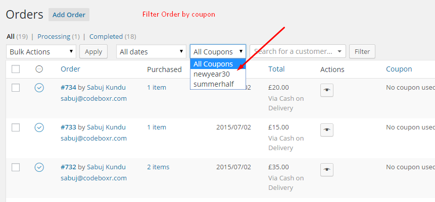 Coupon dropdown in order listing