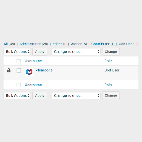 <strong>Users List</strong> - Only 'God Users' can see other 'God Users' on Users List.