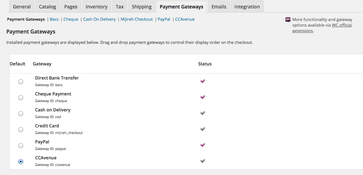 CCAvenue Payment Gateway for WooCommerce – WordPress plugin