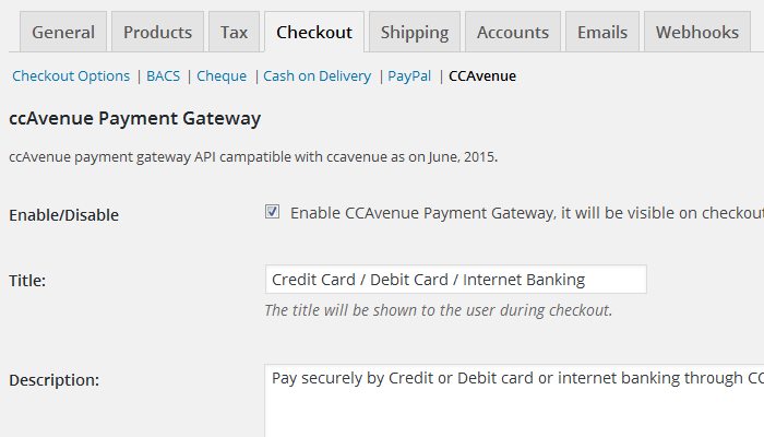 WooCommerce Checkout Setting page with selected ccAvenue.