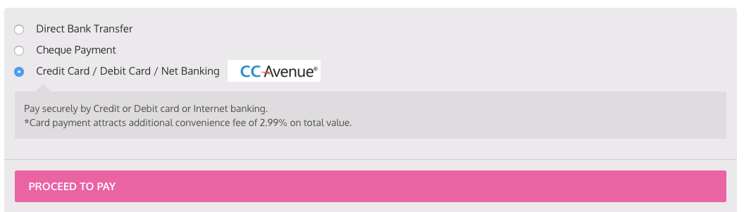 CCAvenue Payment option on check-out page