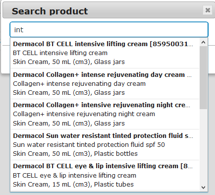 """Search product"" window."