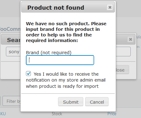 """Missing product"" pop-up."